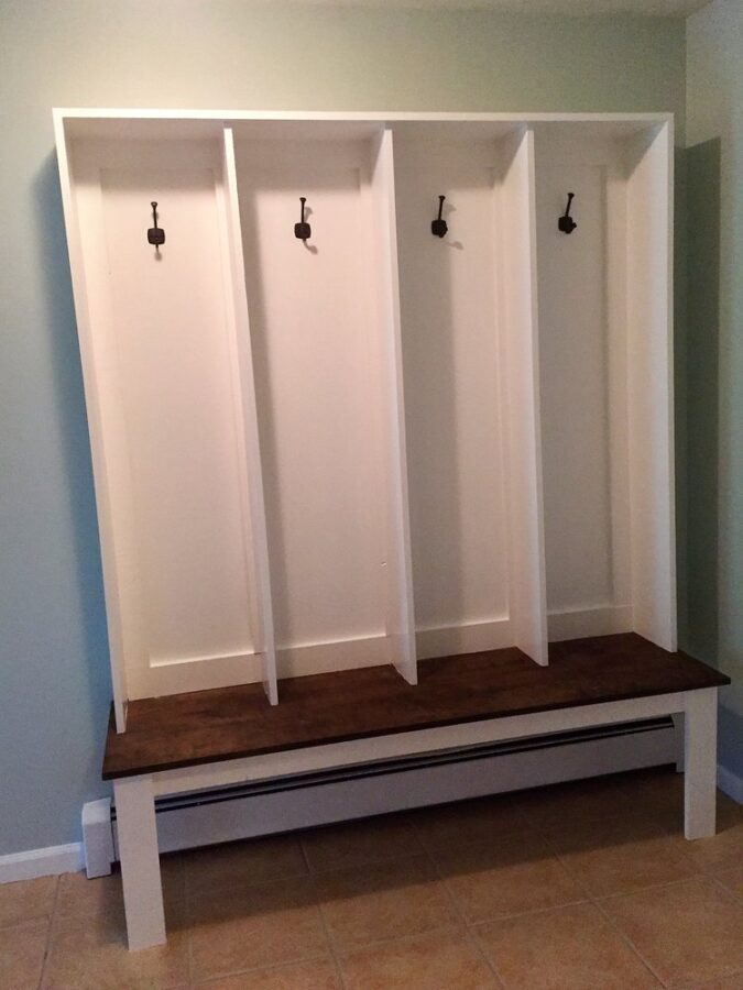 The completely finished DIY bench and locker system for our mudroom.