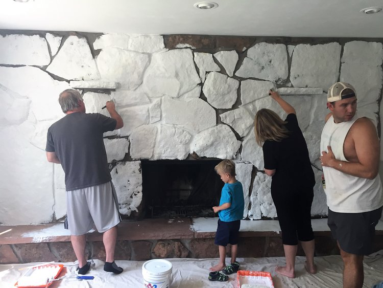 How to paint a rock fireplace