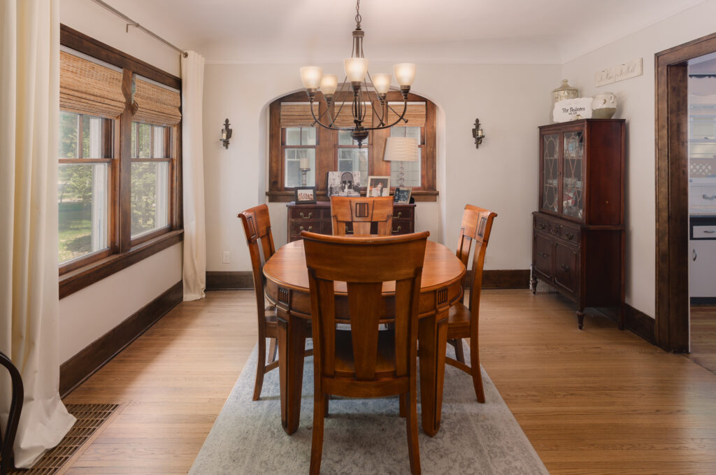 Dining room with restored wood floors and woodwork