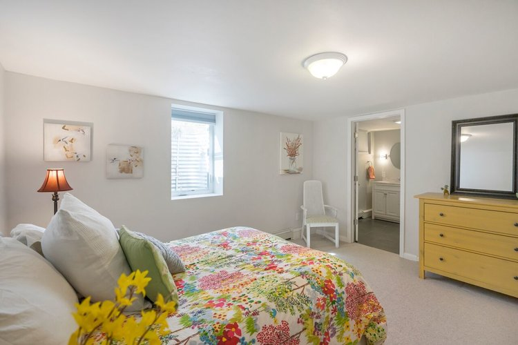 The large basement was turned into a legal bedroom for guests.
