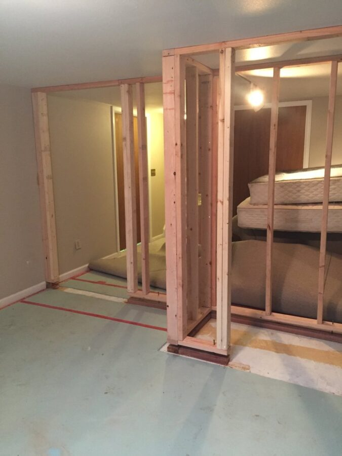 Framing the basement bedroom and closet