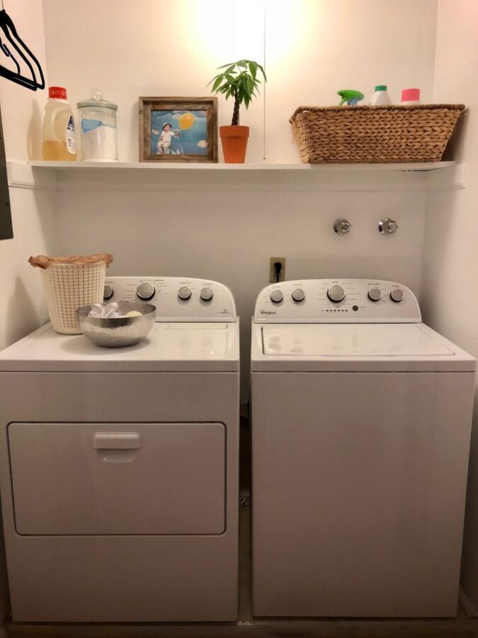 The laundry room makeover after it was painted and decluttered.