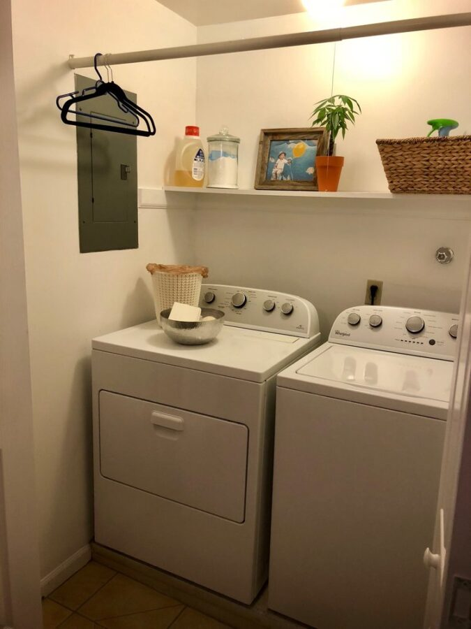 The laundry room after it was freshened up with paint and decluttered.