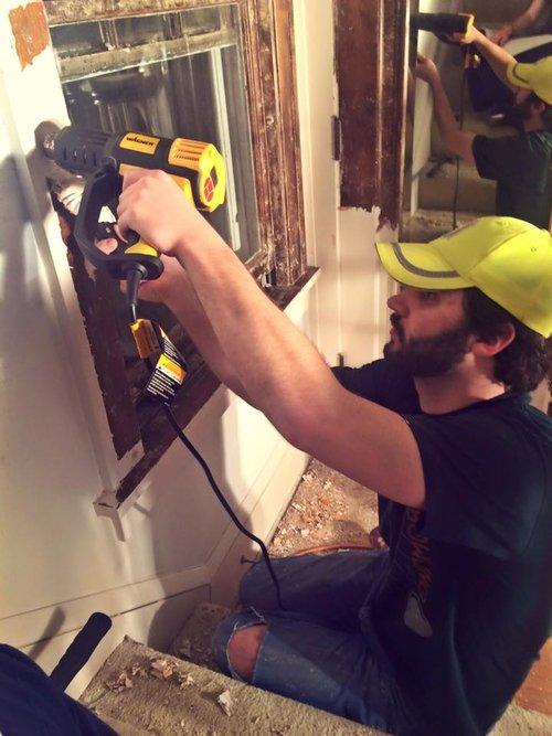 Jon restoring the original woodwork