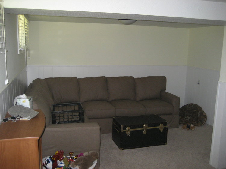 The basement living room when we moved in