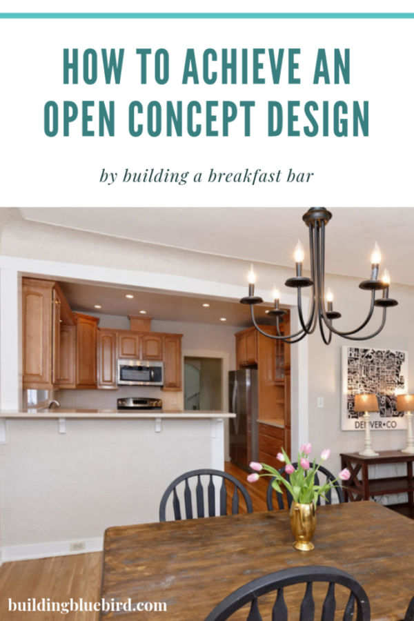 Open concept design with a breakfast bar