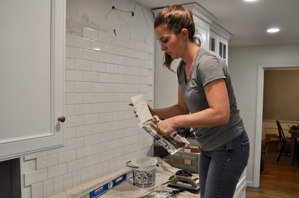 Installing my subway tile kitchen backsplash