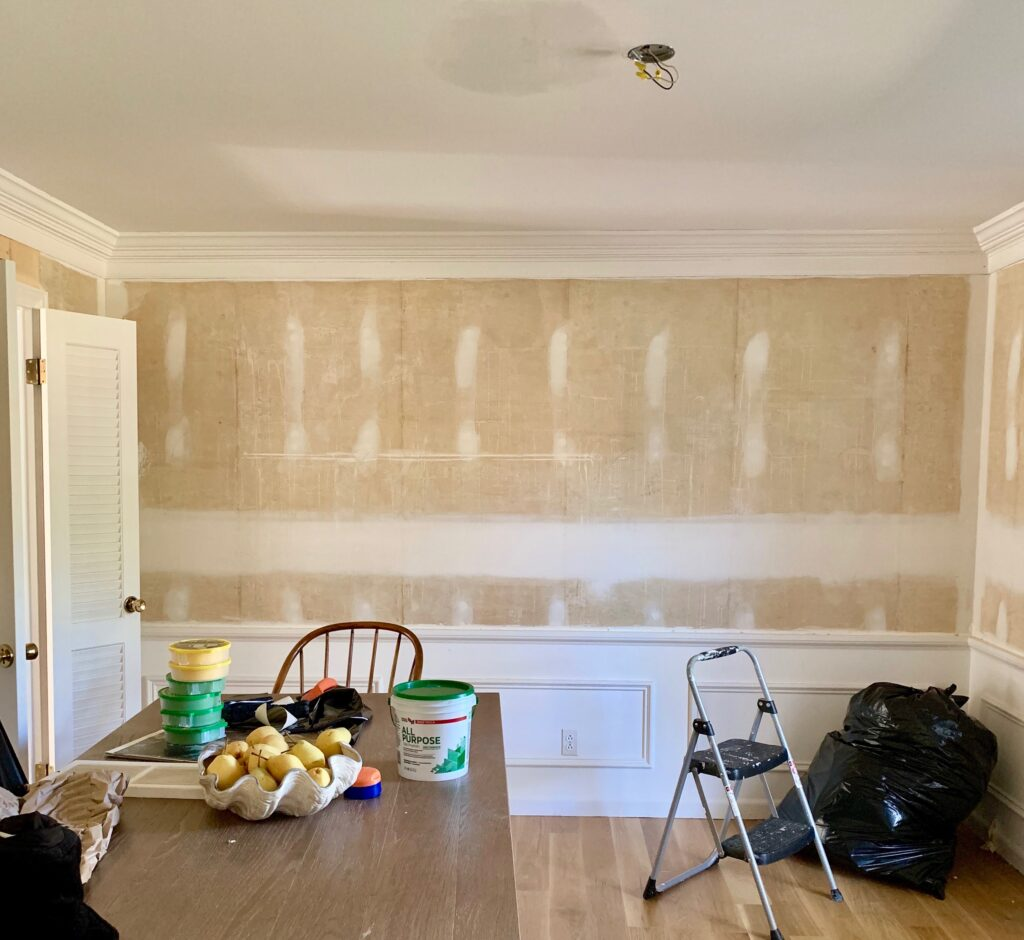 Dining room walls prepped for paint