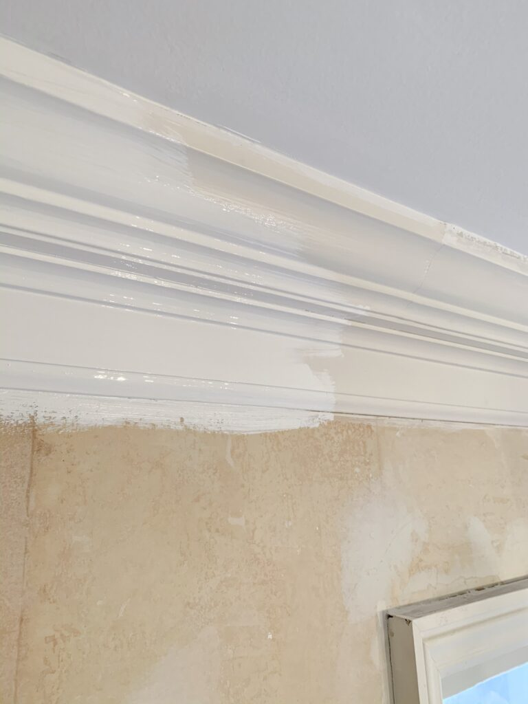 Painting the crown molding with semi-gloss