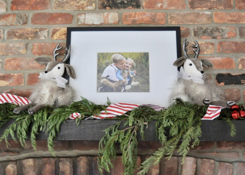 Jellycat reindeer stuffed animals as holiday decor