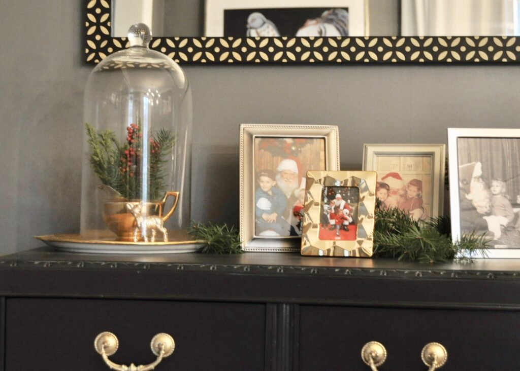 Holiday cloche decor and Christmas photos